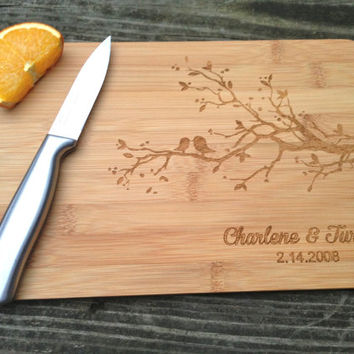 Personalized Cutting Board - Engraved BAMBOO Cutting Board 14 X 7.5 Love Birds Wedding Gift Anniversary Gift Valentines Gift Bamboo