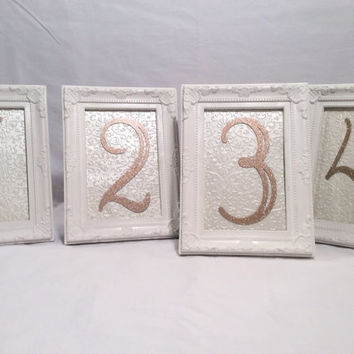 Table number frames wedding frames white ornate 4 x 6 frames glitter table numbers