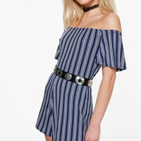 Louise Off The Shoulder Ruffle Sleeve Playsuit | Boohoo