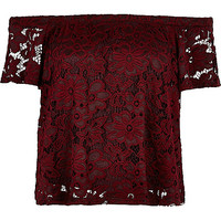 River Island Womens Dark red lace gypsy top
