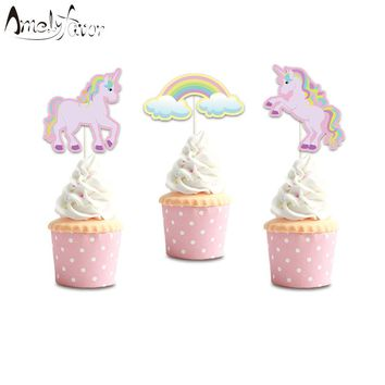 Unicorn Party Cupcake Toppers Rainbow Unicorn  Birthday Party Decorations Party Supplies Birthday Party Decorations Kids