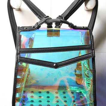 Transparent Holographic Flap Top Backpack
