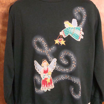 Fun 80s Angels Christmas Sweatshirt