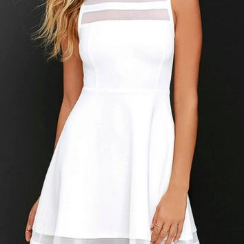 Waiting For My Love Skater Dress -White