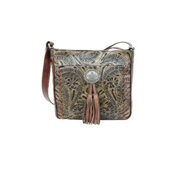 American West Lariats & Lace Messenger Bag-Distressed Charcoal