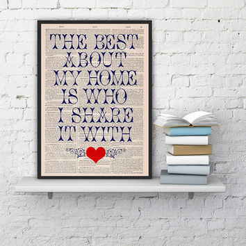 Home love Quote Print on Dictionary Book - Typography Art on Upcycled Dictionary Book - Wall Art Home Decor