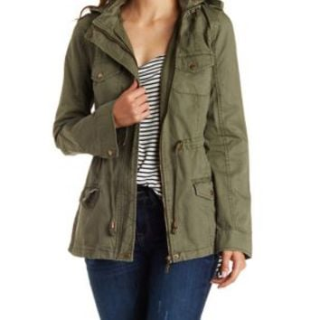 Olive Convertible Hooded Twill Anorak Jacket by Charlotte Russe