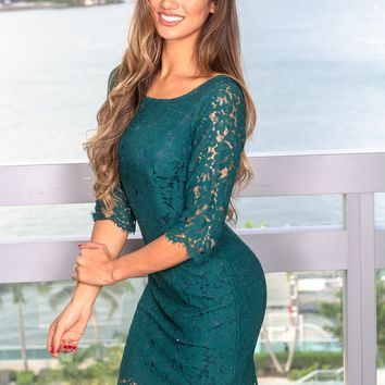 Hunter Green Lace Short Dress with 3/4 Sleeves