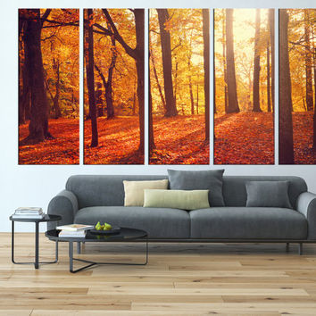 Autumn forest wall art, red leaf tree canvas print, large wall art canvas print, extra large wall art, tree wall art modern canvas art t130