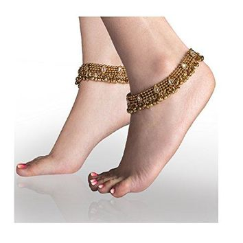 AUGUAU Charms Golden Ethnic Antique Kundan Studded Alloy Anklet