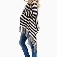 Navy-Ivory-Striped-Fringe-Hem-Knit-Maternity-Cardigan
