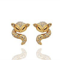 ZLYC 18K Gold Plated Alloy Earrings with White Rhinestones Setting Fox Earrings for Women in 3 Colors
