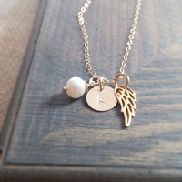 Personalized Jewelry // Initial Necklace with Angel Wing Charm and Freshwater Pearl // Sympathy Gift // Memorial Necklace