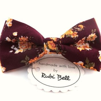 Bow Tie - floral bow tie - wedding bow tie - purple bow tie with yellow flower pattern - man bow tie - men bow tie - gifts for him