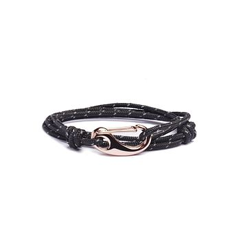 """Admiral"" Navy Blue + Rose Gold Tactical Cord Bracelet"