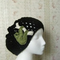 Black Womens Crochet Slouchy Beanie Hat with Sloth Patch