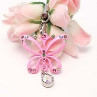 Pink Multi Butterfly Cell Phone Charm Strap Rhine Stone