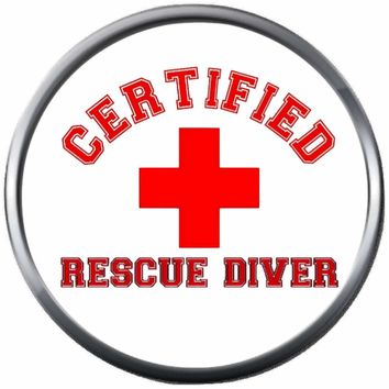Certified Rescue Diver Medic Cross On Dive Flag Fins Red White Diver Down Flag Scuba 18MM - 20MM Snap Charm New Item
