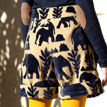 High waist elephant shorts, royal blue long shorts, velvet elephants long shorts, wide shorts