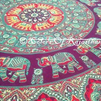 COR's Twin Elephant Mandala Tapestry, Hippie Tapestries, Wall Tapestries, Tapestry Wall Hanging, Indian Tapestry, Bohemian Bedding Psychedelic tapestry Size 60 x 85 Inch's