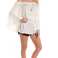 RUFFLED OFF THE SHOULDER TUNIC DRESS - IVORY