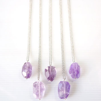 Set of 5 Amethyst Nugget Necklaces, Lilac Amethyst Gemstone Pendant, Gift For Best Friends, Amethyst Jewelry