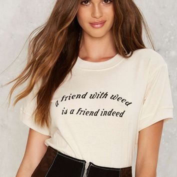 Nasty Gal Friend With Weed Ringer Tee