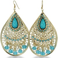 Gold Tone Turquoise Blue Crystal 3.5 Inch Dangle Drop Chandelier Earrings