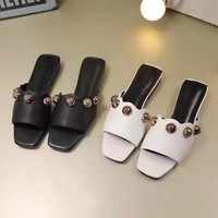 GUCCI Women Trending Fashion pearls Casual Shoes Flat Sandal Slipper Heels