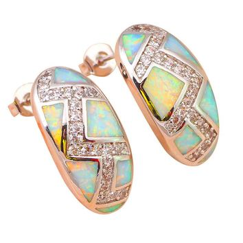 STYLEDOME White Fire Opal Silver Stamped Stud Earrings