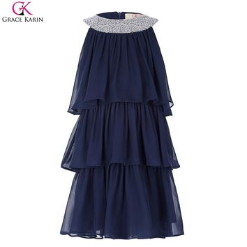 Flower Girls Dresses For Weddings Baby Party Frocks Sexy Children Images Crew Neck Cake Dress Chiffon Dress Kids Prom Dress