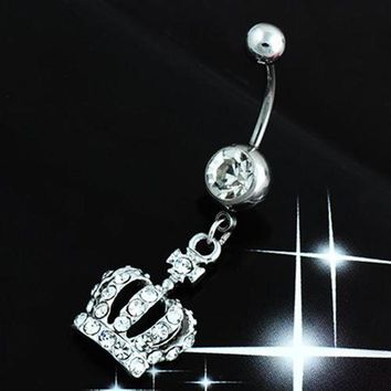 ac PEAPO2Q Hot Hot Chic Navel Belly Button Ring Crown Rhinestone Crystal Piercing Body Jewelry  6KNB 7EVU BE4Z