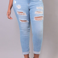 Plus Size Skinny Girlfriend Jean - Light Wash