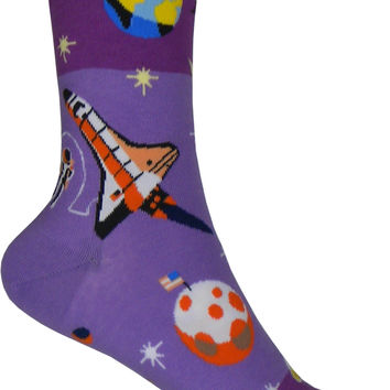 Outer Space Crew Socks in Purple