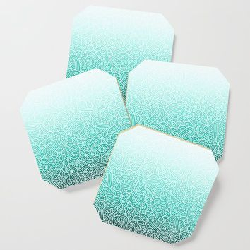 Faded teal blue and white swirls doodles Coaster by savousepate