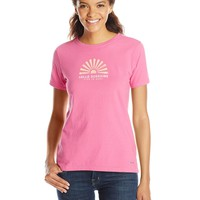 Life is good Women's Crusher Hello Sun Rays T-Shirt (Hot Fuchsia), X-Large