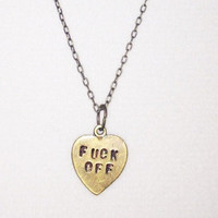 F-CK OFF - Stamped heart charm mature necklace in antique brass
