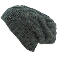 Luxury Divas Charcoal Grey Oversize Slouchy Cable Knit Unisex Beanie Cap Hat