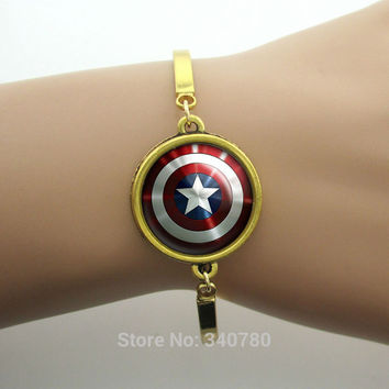 Captain America Sheild Pendant bracelets Chris Evens,Tony Stark Jewelry, Avengers Bracelets bangles for men  New Fashion Gold