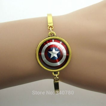 Captain America Sheild Pendant bracelets Chris Evens,Tony Stark Jewelry, Avengers Bracelets bangles for men  New Fashion silver