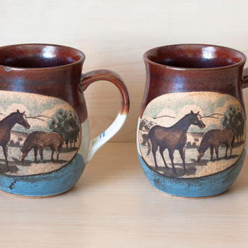 Otagiri Stoneware Western Horse and Farmhouse Mugs (Pair)