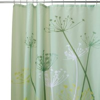 InterDesign Thistle Fabric Shower Curtain, 72 x 72-Inch, Green