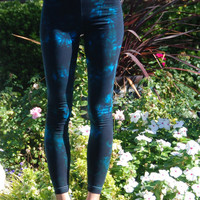 Get 25% off One Pair Only Size Large Twilight Turquoise Tie Dye Yoga Leggings by Splash Dye Activewear
