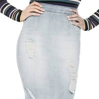 Mika Destroyed Pencil Skirt at Guess