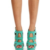 Sea Green Strappy Peep Toe Heels