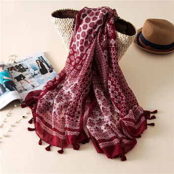 Bohemian geometric floral tassel scarf ethnic red muslim scarves hijab brand design Japanese