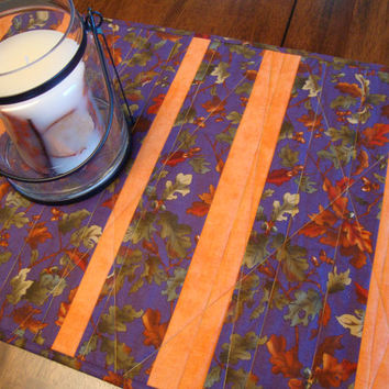 AUTUMN TABLE RUNNER - Reversible Fall Tablerunner - Purple and Orange - Quilted Table Runner - Table Topper - Fall Decor -Moda Autumn Breeze