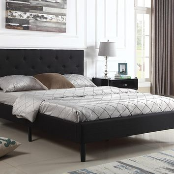 "New Century® Black Linen Upholstered 35"" Headboard Platform Bed"