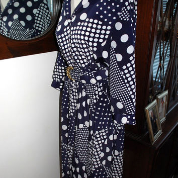 1980's Lady Carol of New York / Navy Blue and White Rockabilly Polka Dot Dress with belt / Womens Size 8 petite / 8P