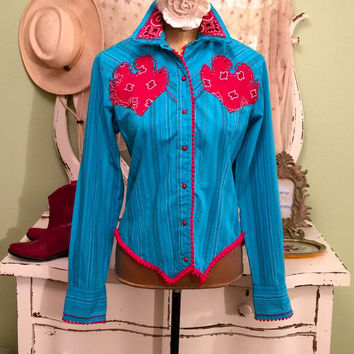 Western Shirt, Paisley Cowgirl Blouse, Red Turquoise Top, Folk Retro Shirt, Art To Wear Top, One of a Kind Clothes, Bohemian Top, Medium